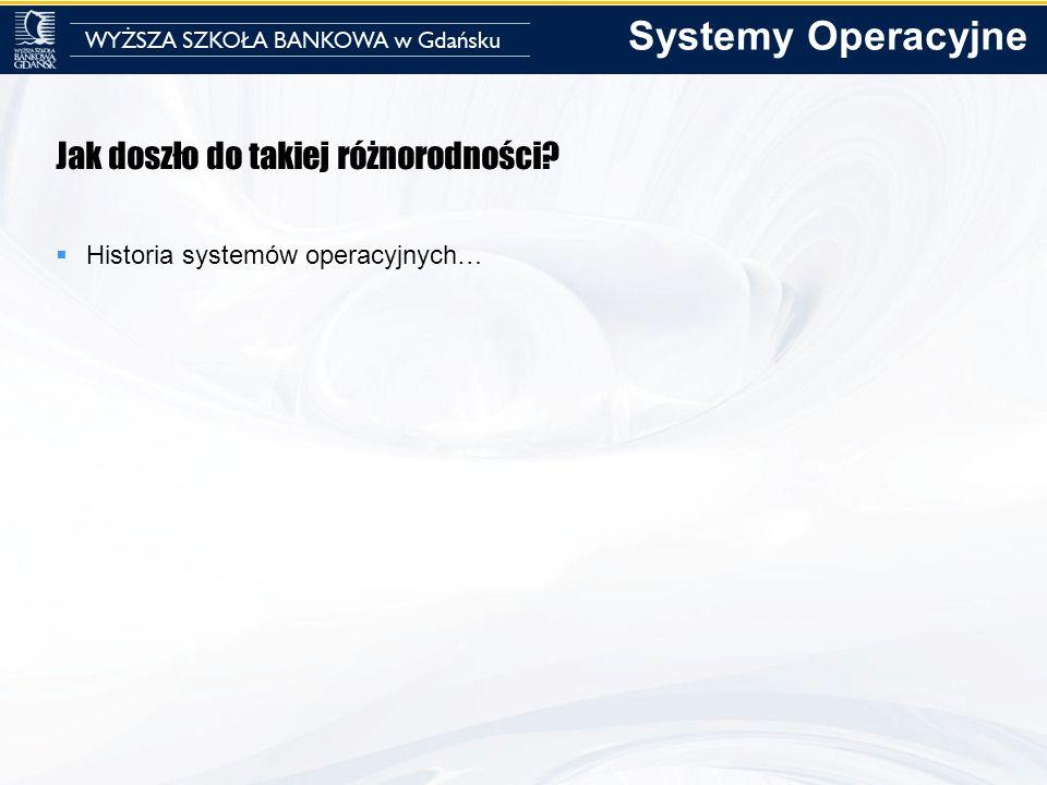 Jak doszło do takiej różnorodności? Historia systemów operacyjnych… Systemy Operacyjne