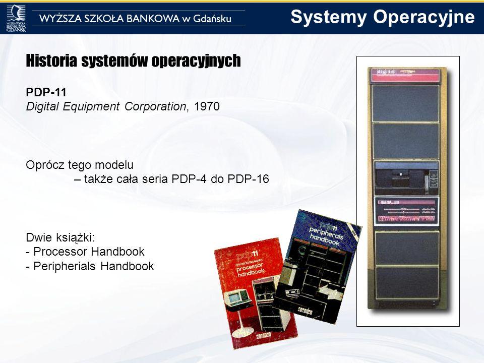 Historia systemów operacyjnych PDP-11 Digital Equipment Corporation, 1970 Oprócz tego modelu – także cała seria PDP-4 do PDP-16 Dwie książki: - Proces