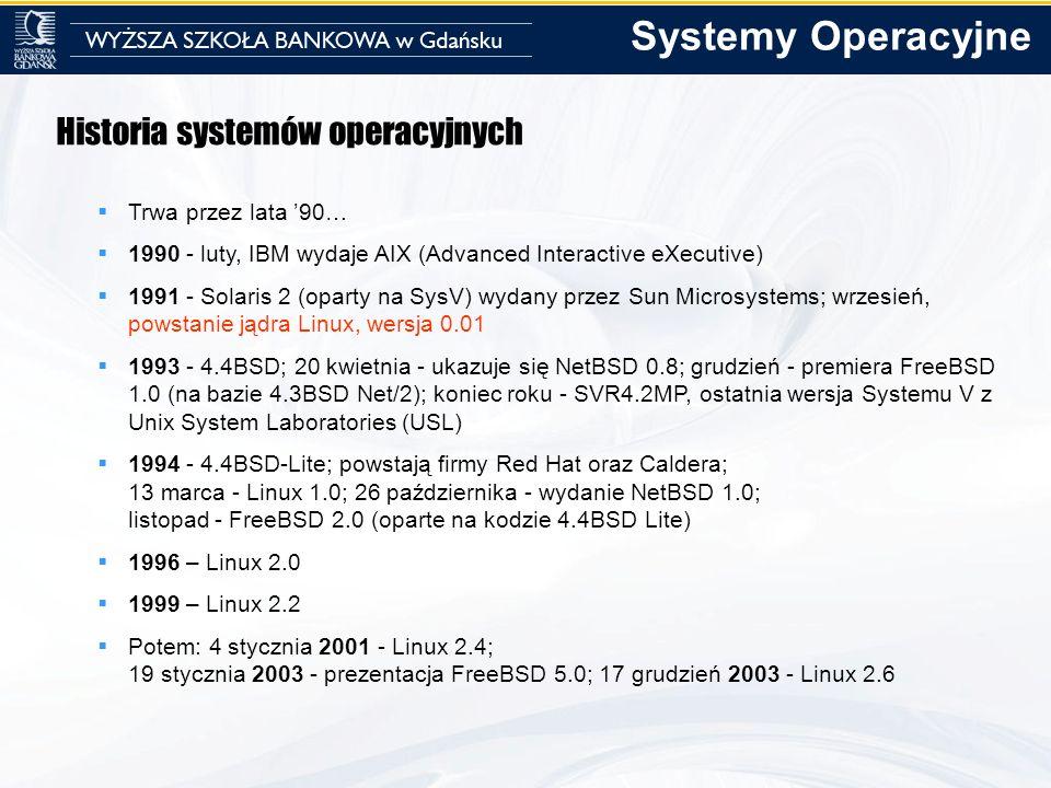 Historia systemów operacyjnych Trwa przez lata 90… 1990 - luty, IBM wydaje AIX (Advanced Interactive eXecutive) 1991 - Solaris 2 (oparty na SysV) wyda