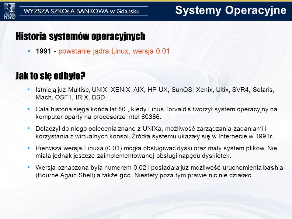 Historia systemów operacyjnych 1991 - powstanie jądra Linux, wersja 0.01 Jak to się odbyło? Istnieją już Multisc, UNIX, XENIX, AIX, HP-UX, SunOS, Xeni