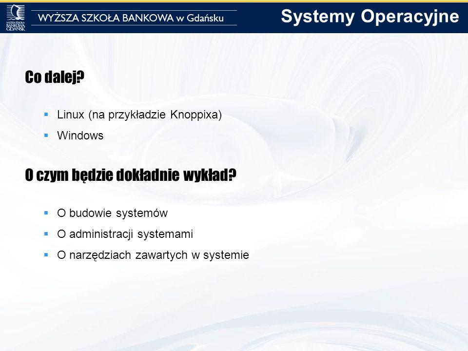 Co dalej? Linux (na przykładzie Knoppixa) Windows O czym będzie dokładnie wykład? O budowie systemów O administracji systemami O narzędziach zawartych