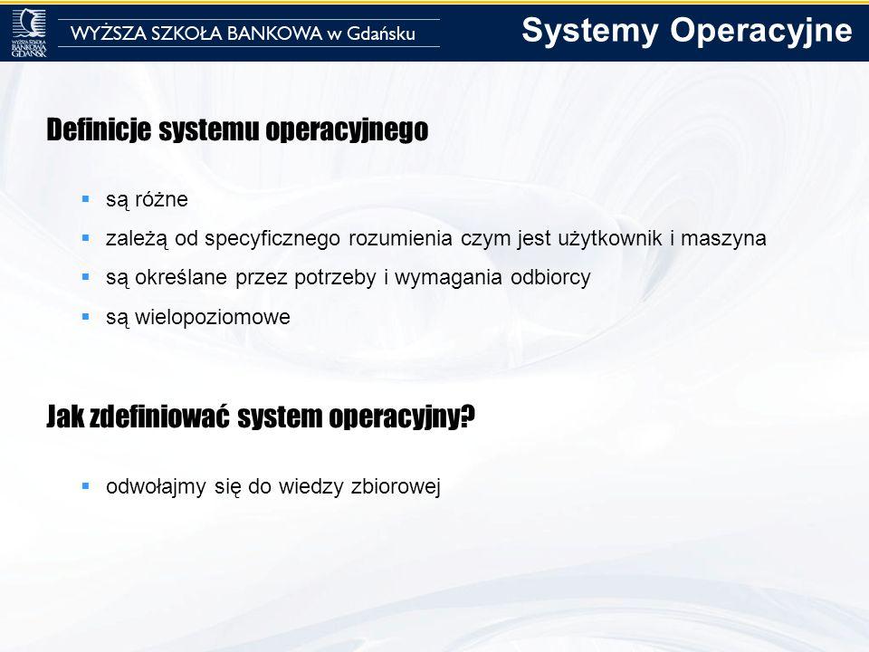 Definicje systemu operacyjnego są różne zależą od specyficznego rozumienia czym jest użytkownik i maszyna są określane przez potrzeby i wymagania odbi