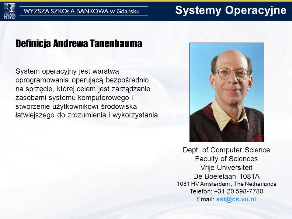 Definicja Andrewa Tanenbauma System operacyjny jest warstwą oprogramowania operującą bezpośrednio na sprzęcie, której celem jest zarządzanie zasobami