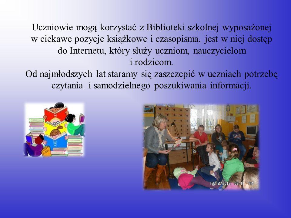 Uczniowie mogą korzystać z Biblioteki szkolnej wyposażonej w ciekawe pozycje książkowe i czasopisma, jest w niej dostęp do Internetu, który służy uczn
