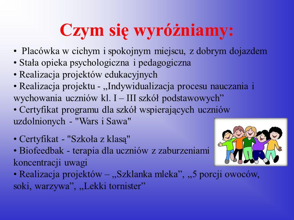 Szkoła zapewnia pomoc pedagogiczną i psychologiczną dla dzieci i rodziców.