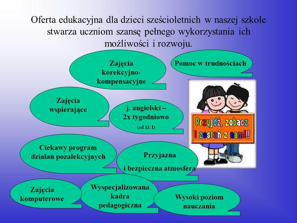 Oferta edukacyjna dla dzieci sześcioletnich w naszej szkole stwarza uczniom szansę pełnego wykorzystania ich możliwości i rozwoju. Zajęcia wspierające
