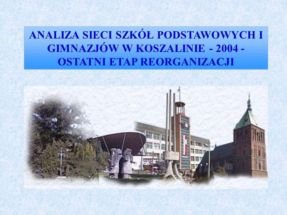 ANALIZA SIECI SZKÓŁ PODSTAWOWYCH I GIMNAZJÓW W KOSZALINIE - 2004 - OSTATNI ETAP REORGANIZACJI