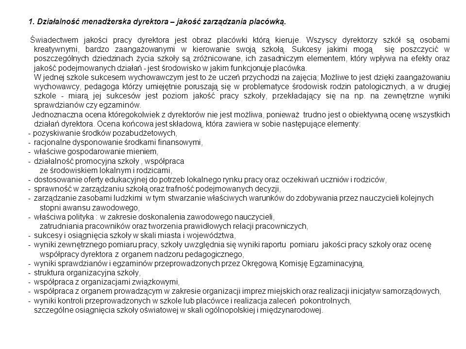1.Działalność menadżerska dyrektora – jakość zarządzania placówką.