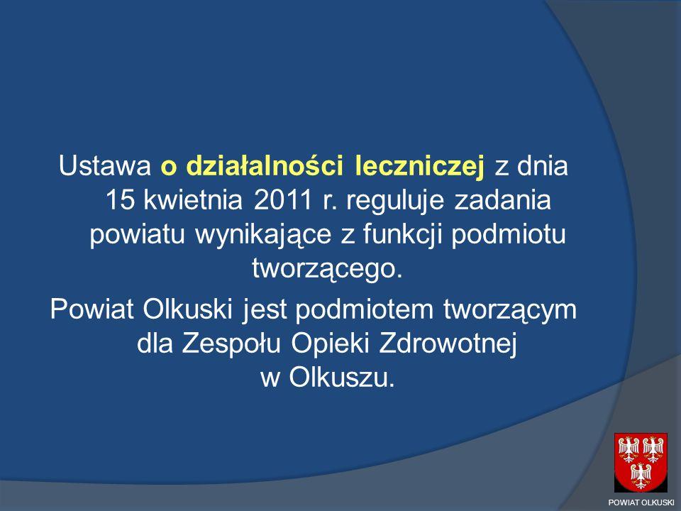 Ustawa o działalności leczniczej z dnia 15 kwietnia 2011 r. reguluje zadania powiatu wynikające z funkcji podmiotu tworzącego. Powiat Olkuski jest pod