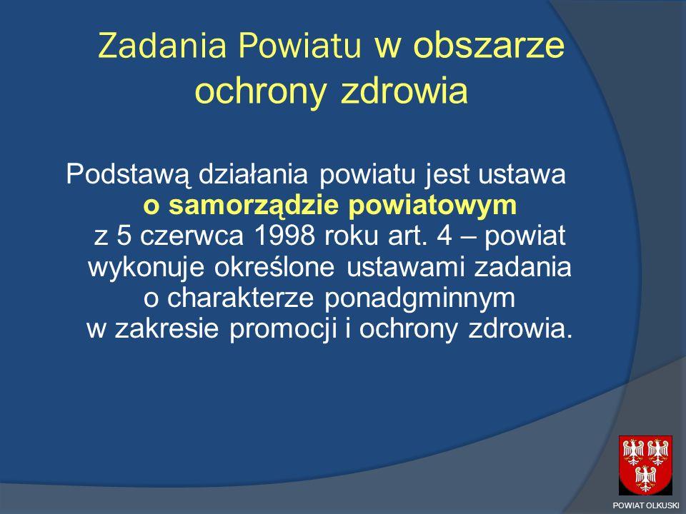 Zadania Powiatu w obszarze ochrony zdrowia Podstawą działania powiatu jest ustawa o samorządzie powiatowym z 5 czerwca 1998 roku art. 4 – powiat wykon