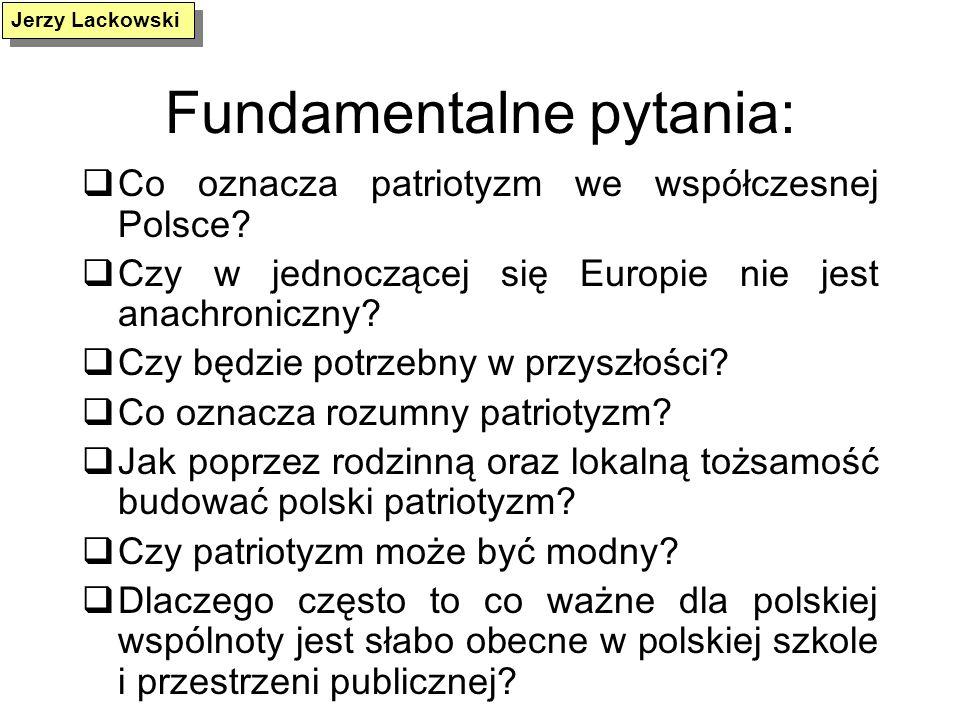 Fundamentalne pytania: Co oznacza patriotyzm we współczesnej Polsce? Czy w jednoczącej się Europie nie jest anachroniczny? Czy będzie potrzebny w przy
