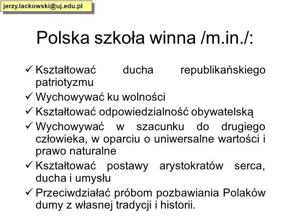Polska szkoła winna /m.in./: Kształtować ducha republikańskiego patriotyzmu Wychowywać ku wolności Kształtować odpowiedzialność obywatelską Wychowywać