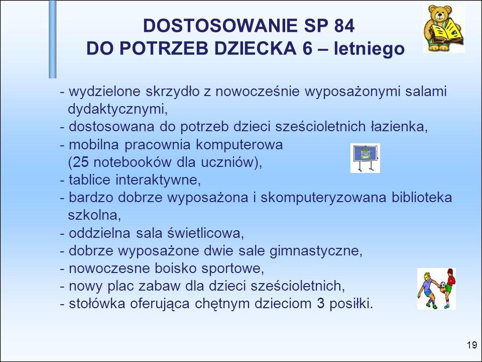 DOSTOSOWANIE SP 84 DO POTRZEB DZIECKA 6 – letniego - wydzielone skrzydło z nowocześnie wyposażonymi salami dydaktycznymi, - dostosowana do potrzeb dzi