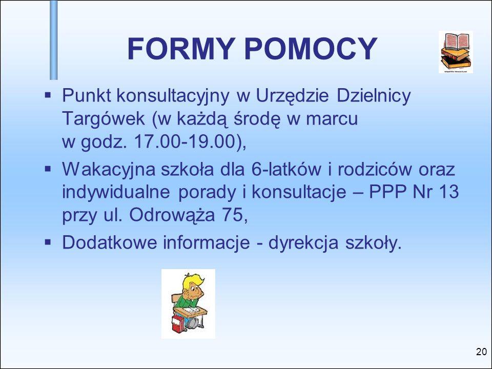 FORMY POMOCY Punkt konsultacyjny w Urzędzie Dzielnicy Targówek (w każdą środę w marcu w godz. 17.00-19.00), Wakacyjna szkoła dla 6-latków i rodziców o