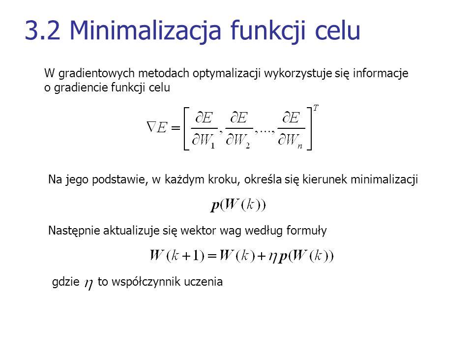 3.2 Minimalizacja funkcji celu W gradientowych metodach optymalizacji wykorzystuje się informacje o gradiencie funkcji celu Na jego podstawie, w każdy