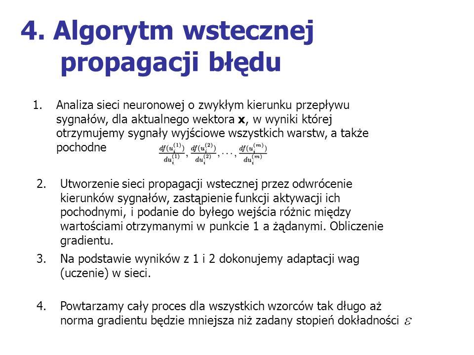 4. Algorytm wstecznej propagacji błędu 1.Analiza sieci neuronowej o zwykłym kierunku przepływu sygnałów, dla aktualnego wektora x, w wyniki której otr