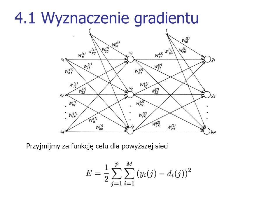 4.1 Wyznaczenie gradientu Przyjmijmy za funkcję celu dla powyższej sieci
