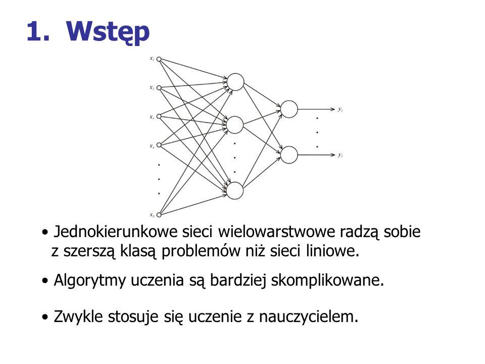 1.Wstęp Jednokierunkowe sieci wielowarstwowe radzą sobie z szerszą klasą problemów niż sieci liniowe. Algorytmy uczenia są bardziej skomplikowane. Zwy