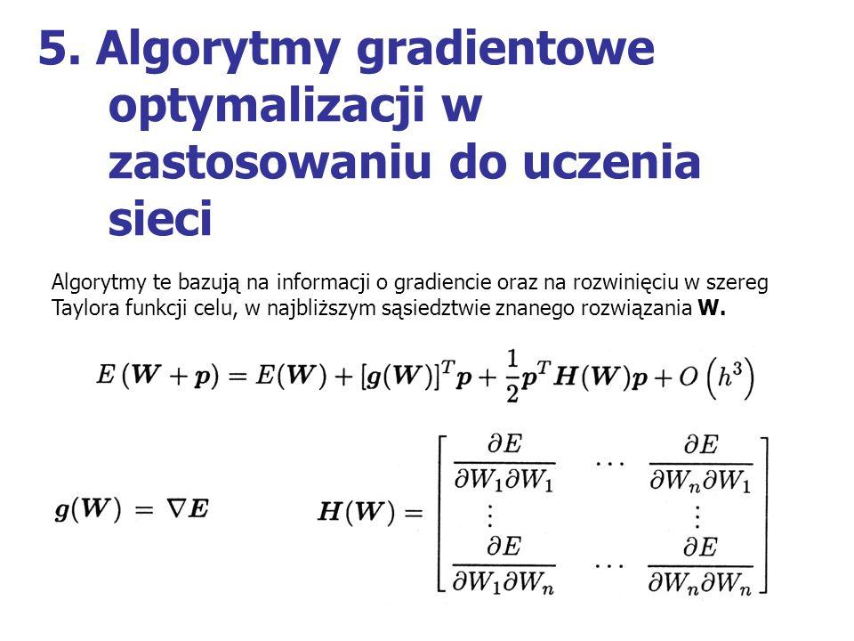 5. Algorytmy gradientowe optymalizacji w zastosowaniu do uczenia sieci Algorytmy te bazują na informacji o gradiencie oraz na rozwinięciu w szereg Tay