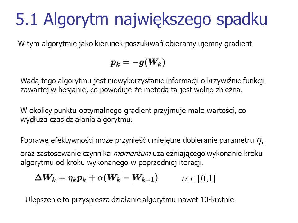 5.1 Algorytm największego spadku W tym algorytmie jako kierunek poszukiwań obieramy ujemny gradient Wadą tego algorytmu jest niewykorzystanie informac