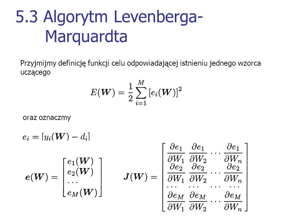 5.3 Algorytm Levenberga- Marquardta Przyjmijmy definicję funkcji celu odpowiadającej istnieniu jednego wzorca uczącego oraz oznaczmy