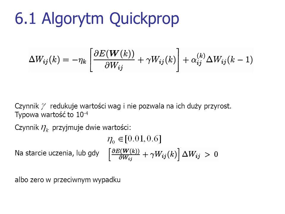 6.1 Algorytm Quickprop Czynnik redukuje wartości wag i nie pozwala na ich duży przyrost. Typowa wartość to 10 -4 Czynnik przyjmuje dwie wartości: Na s