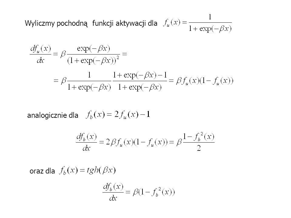 Wyliczmy pochodną funkcji aktywacji dla analogicznie dla oraz dla