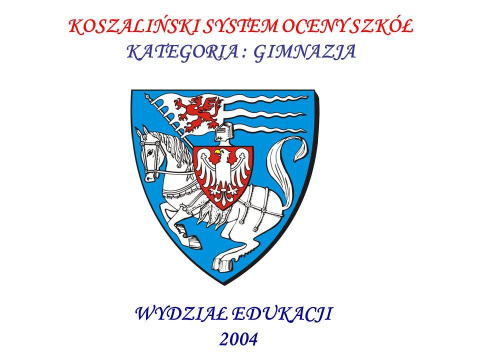 KOSZALIŃSKI SYSTEM OCENY SZKÓŁ KATEGORIA : GIMNAZJA WYDZIAŁ EDUKACJI 2004