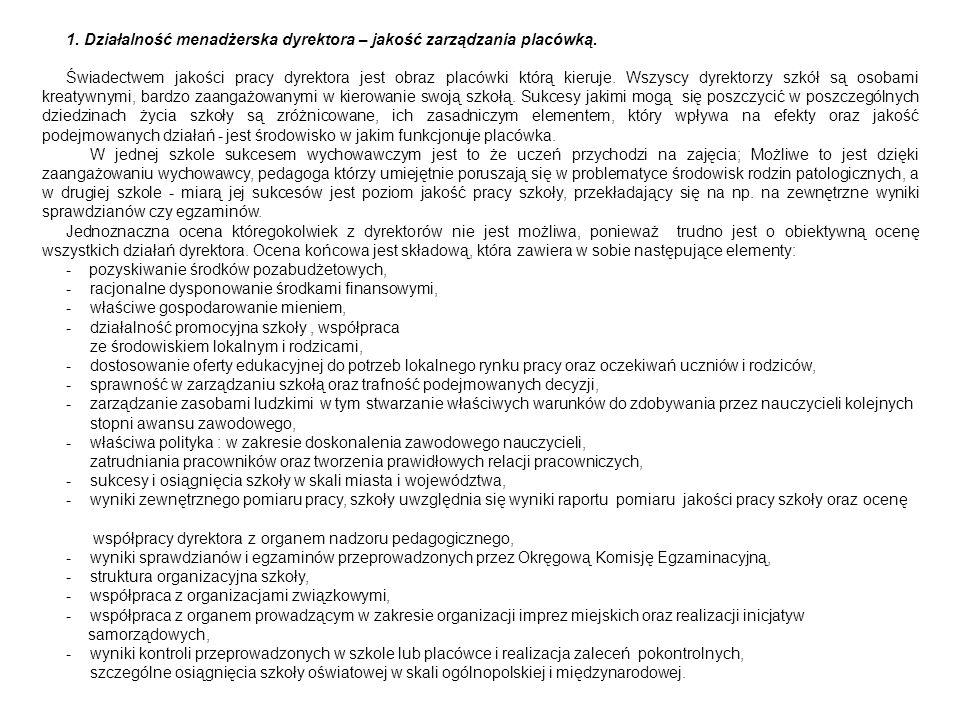 1. Działalność menadżerska dyrektora – jakość zarządzania placówką.