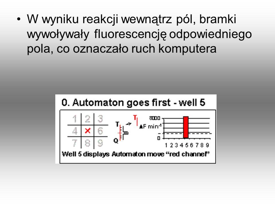 W wyniku reakcji wewnątrz pól, bramki wywoływały fluorescencję odpowiedniego pola, co oznaczało ruch komputera