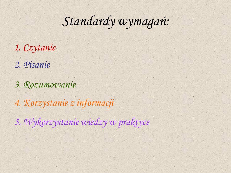 Standardy wymagań: 1. Czytanie 2. Pisanie 3. Rozumowanie 4. Korzystanie z informacji 5. Wykorzystanie wiedzy w praktyce