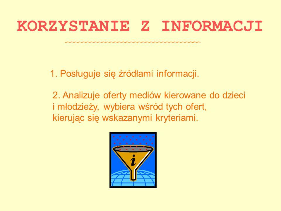 KORZYSTANIE Z INFORMACJI 1. Posługuje się źródłami informacji. 2. Analizuje oferty mediów kierowane do dzieci i młodzieży, wybiera wśród tych ofert, k