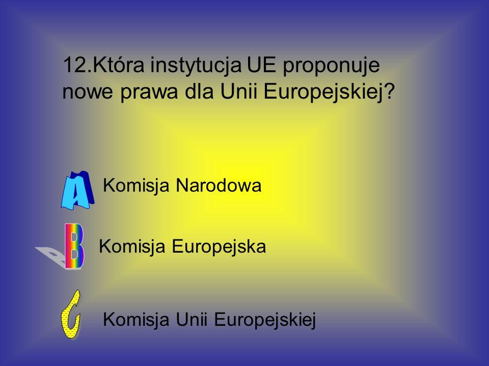 Komisja Europejska Komisja Unii Europejskiej Komisja Narodowa 12.Która instytucja UE proponuje nowe prawa dla Unii Europejskiej?