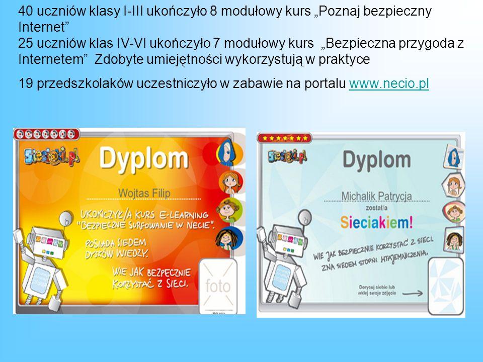 40 uczniów klasy I-III ukończyło 8 modułowy kurs Poznaj bezpieczny Internet 25 uczniów klas IV-VI ukończyło 7 modułowy kurs Bezpieczna przygoda z Internetem Zdobyte umiejętności wykorzystują w praktyce 19 przedszkolaków uczestniczyło w zabawie na portalu www.necio.plwww.necio.pl