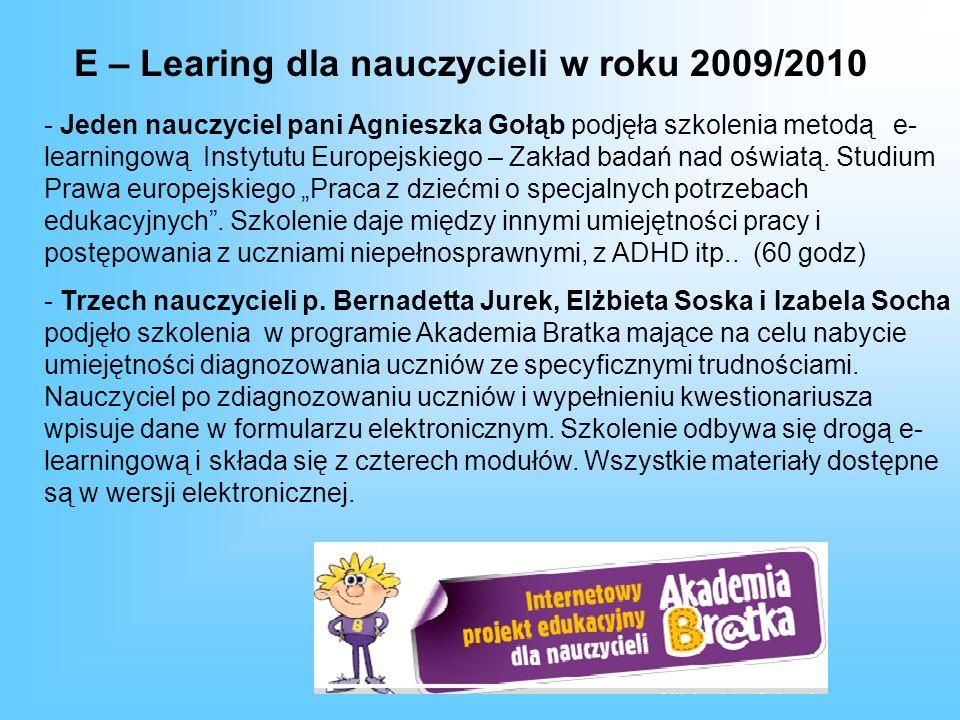 E – Learing dla nauczycieli w roku 2009/2010 - Jeden nauczyciel pani Agnieszka Gołąb podjęła szkolenia metodą e- learningową Instytutu Europejskiego – Zakład badań nad oświatą.