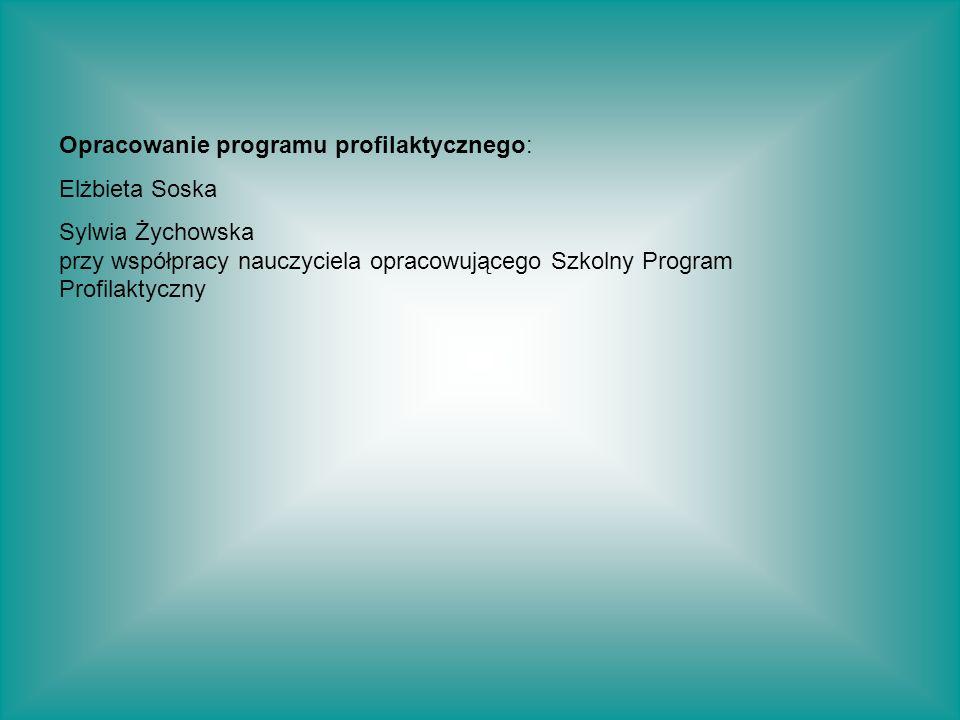 Opracowanie programu profilaktycznego: Elżbieta Soska Sylwia Żychowska przy współpracy nauczyciela opracowującego Szkolny Program Profilaktyczny
