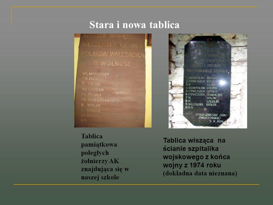 Stara i nowa tablica Tablica wisząca na ścianie szpitalika wojskowego z końca wojny z 1974 roku (dokładna data nieznana) Tablica pamiątkowa poległych