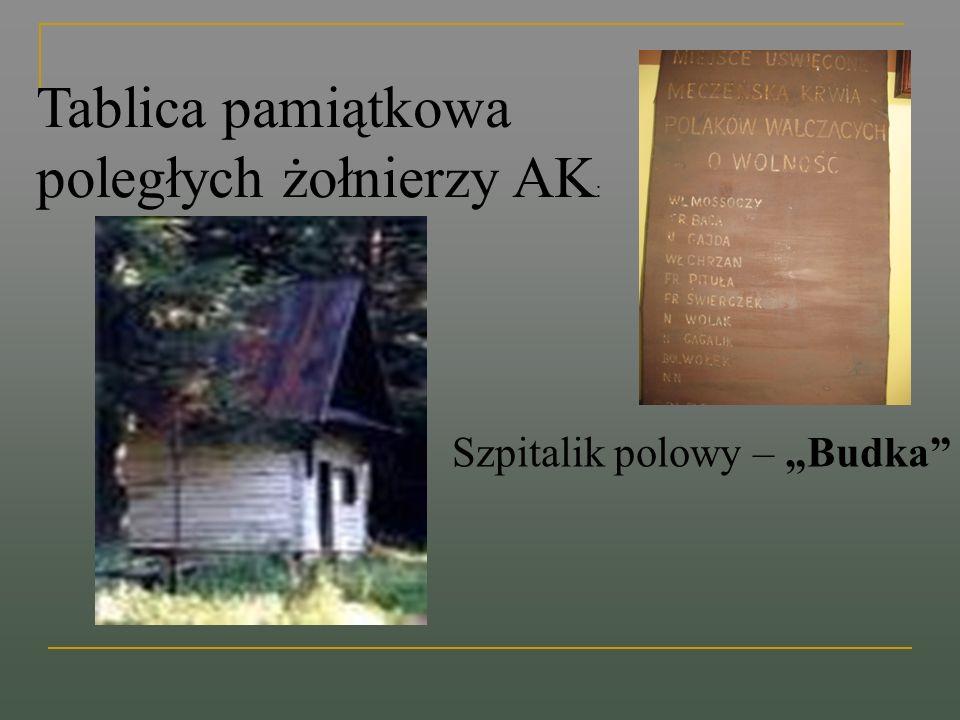 Tablica pamiątkowa poległych żołnierzy AK : Szpitalik polowy – Budka