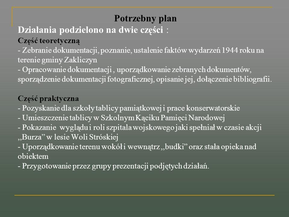 Potrzebny plan Działania podzielono na dwie części : Część teoretyczną - Zebranie dokumentacji, poznanie, ustalenie faktów wydarzeń 1944 roku na teren