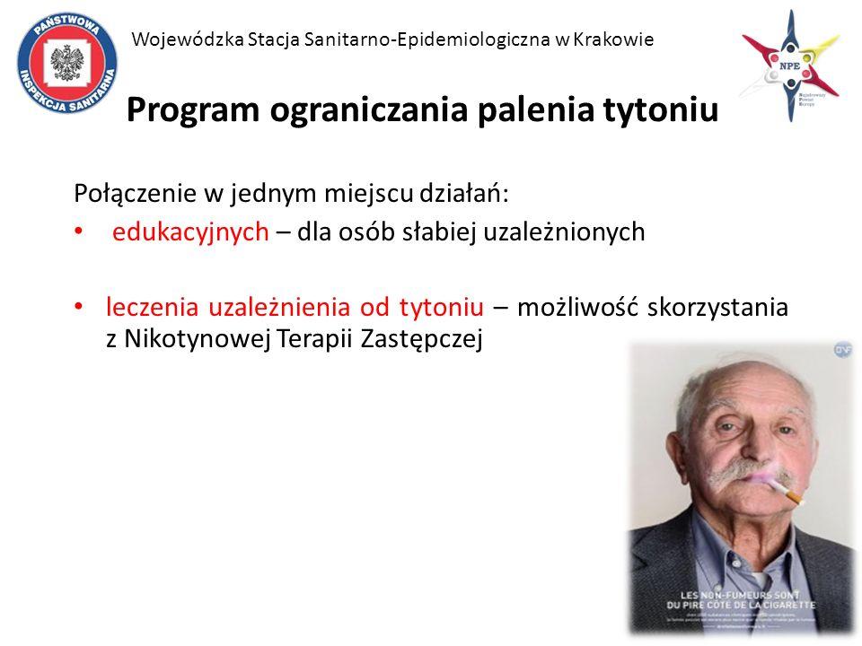 Program ograniczania palenia tytoniu Połączenie w jednym miejscu działań: edukacyjnych – dla osób słabiej uzależnionych leczenia uzależnienia od tytoniu – możliwość skorzystania z Nikotynowej Terapii Zastępczej Wojewódzka Stacja Sanitarno-Epidemiologiczna w Krakowie