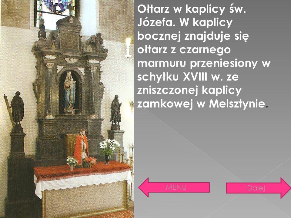 Ołtarz w kaplicy św. Józefa. W kaplicy bocznej znajduje się ołtarz z czarnego marmuru przeniesiony w schyłku XVIII w. ze zniszczonej kaplicy zamkowej