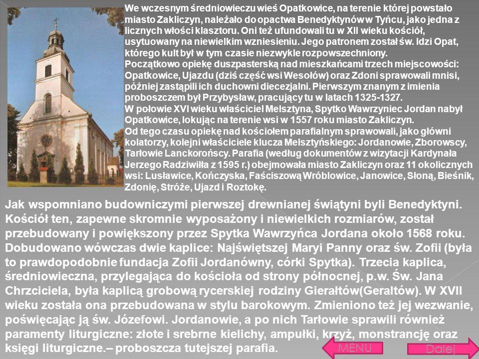 Jak wspomniano budowniczymi pierwszej drewnianej świątyni byli Benedyktyni. Kościół ten, zapewne skromnie wyposażony i niewielkich rozmiarów, został p