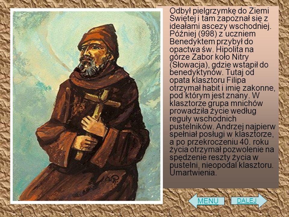 Odbył pielgrzymkę do Ziemi Świętej i tam zapoznał się z ideałami ascezy wschodniej. Później (998) z uczniem Benedyktem przybył do opactwa św. Hipolita