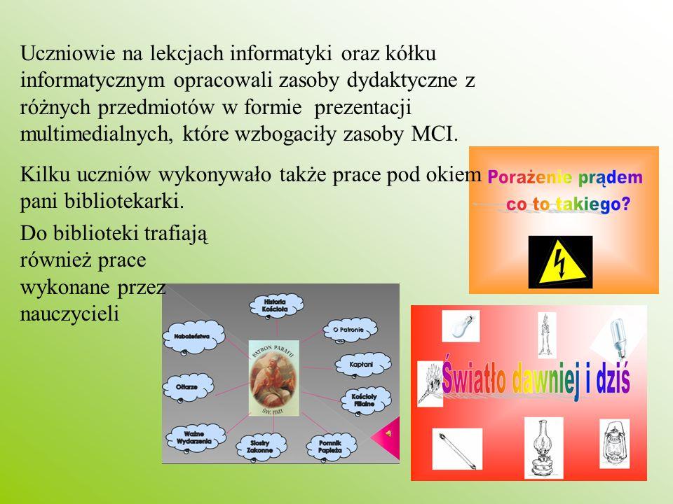 Uczniowie na lekcjach informatyki oraz kółku informatycznym opracowali zasoby dydaktyczne z różnych przedmiotów w formie prezentacji multimedialnych,