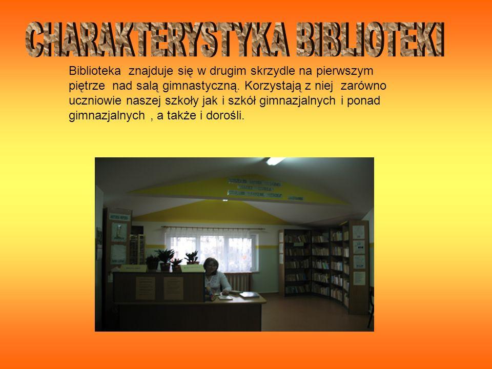 Na bibliotekę składa się jedno duże pomieszczenie wraz z czytelnią W naszej bibliotece znajduje się około 6110 woluminów książek : 142 słowniki 26 encyklopedii 78 atlasów Oraz lektury szkolne, bajki, czasopisma, Książki metodyczne, multimedia około 150 pozycji