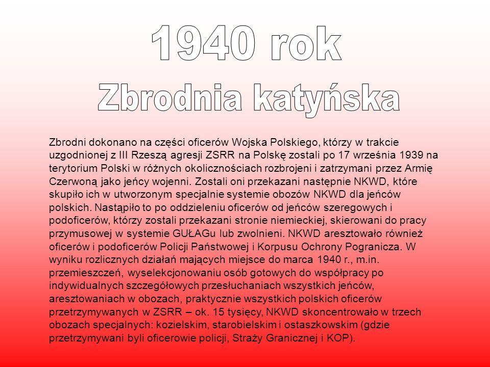 Zbrodni dokonano na części oficerów Wojska Polskiego, którzy w trakcie uzgodnionej z III Rzeszą agresji ZSRR na Polskę zostali po 17 września 1939 na