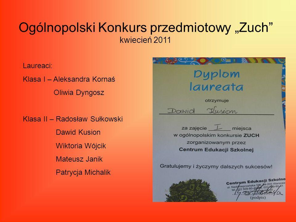 Ogólnopolski Konkurs przedmiotowy Zuch kwiecień 2011 Laureaci: Klasa I – Aleksandra Kornaś Oliwia Dyngosz Klasa II – Radosław Sułkowski Dawid Kusion W