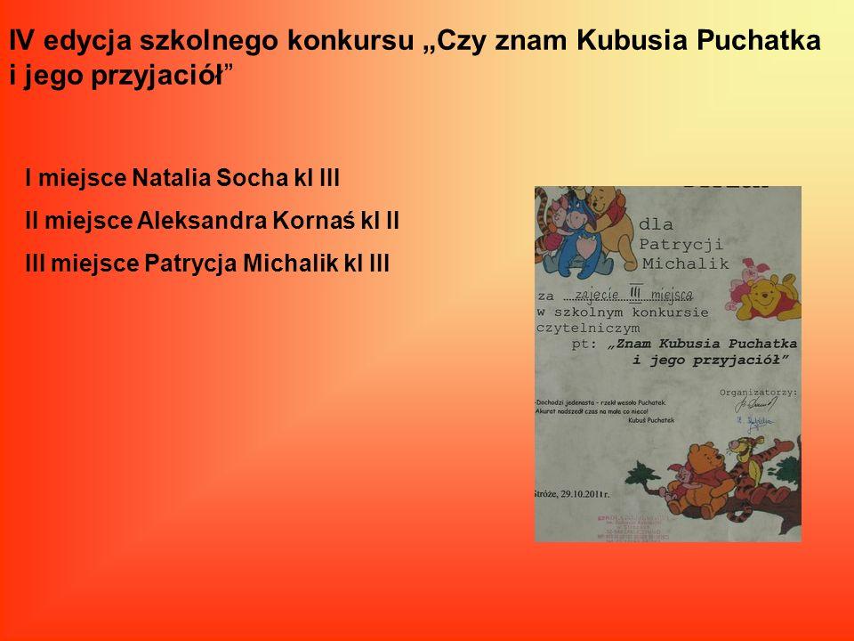 IV edycja szkolnego konkursu Czy znam Kubusia Puchatka i jego przyjaciół I miejsce Natalia Socha kl III II miejsce Aleksandra Kornaś kl II III miejsce