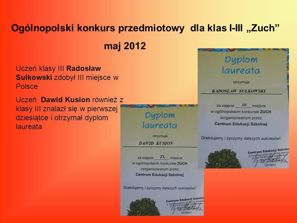 Ogólnopolski konkurs przedmiotowy dla klas I-III Zuch maj 2012 Uczeń klasy III Radosław Sułkowski zdobył III miejsce w Polsce Uczeń Dawid Kusion równi