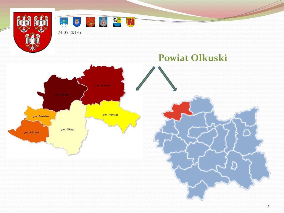 W skład powiatu wchodzą: gminy miejskie: Bukowno gminy miejsko-wiejskie: Olkusz Wolbrom gminy wiejskie: Bolesław Klucze Trzyciąż 24.05.2013 r.